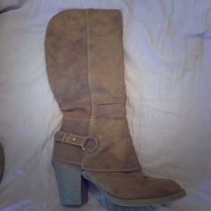 Suede knee high heel boots